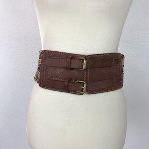 Allsaints Jute Leather Double Buckle Belt